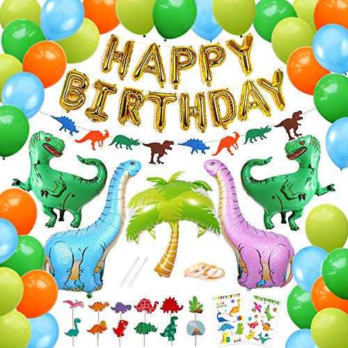 92 Pack Dinosaur Party Supplies - Dino Birthday Decoration Set for Boys and Girls with Cake Toppers, Happy Birthday Banner, Garlands, Balloons, Temporary Tattoos for Kids Favors - - Cor Sign