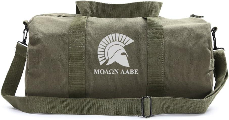 Heavyweight Canvas Duffel Bag Molon Labe Helmet Medium Olive /& Glow i//t Dark