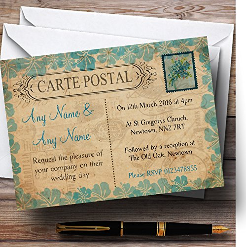 Shabby Chic Vintage Postcard Rustic Turquoise Stamp Personalized Wedding Invi. -