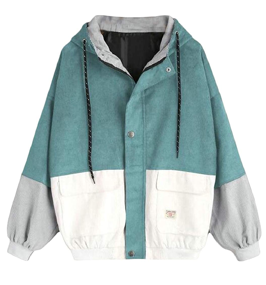 4 TDCACA Womens Corduroy Contrast color Boyfriend Loose Jacket Outwear