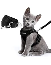 Eagloo Cat Harness and Leash Set Escape Proof Small Cats Walking Harnesses with Leash for Car Safety Belt Adjustable Vest Soft Mesh Reflective Strips Metal Clip Comfortable for Kitten Puppy, S