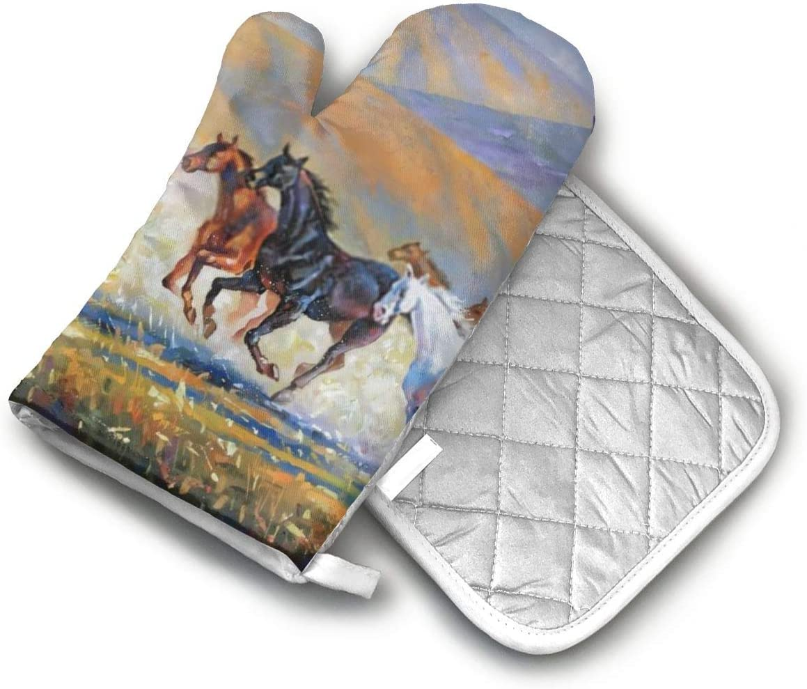 TEDISMC Oven Mitts and Potholder Horses Running Art Heat Resistant Oven Gloves Non-Slip Oven Pad for Cooking