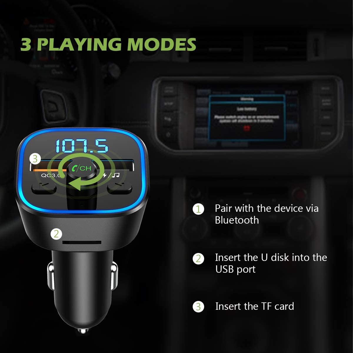 Hands Free Car Kit KeeKit Wireless Car Radio Adapter with Quick Charge 3.0 Music Player Supports TF Card 7 Color RGB LED Backlit Upgraded USB Disk Bluetooth V5.0 FM Transmitter for Car Black