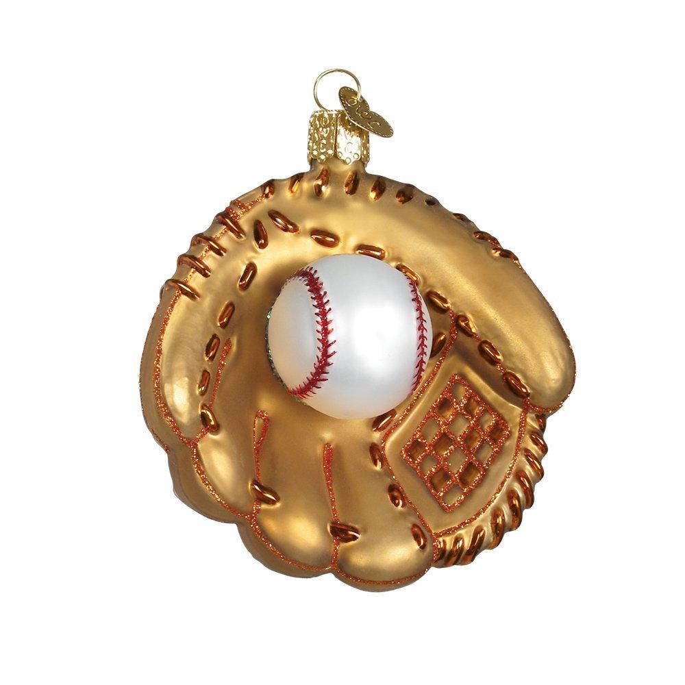 Baseball Mitt Glitter Glass Christmas Ornament