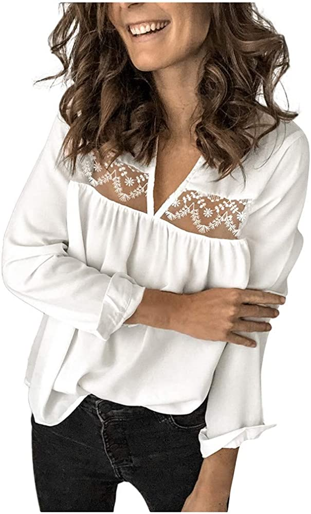 Luckycat Moda Casual para Mujer Sexy con Cuello en v Patchwork de Encaje Manga Larga parcialmente ahuecada sin Espalda Camisa Jersey Blusa Tops Camisa de Encaje Floral Crochet Top Lace Shirt: Amazon.es: