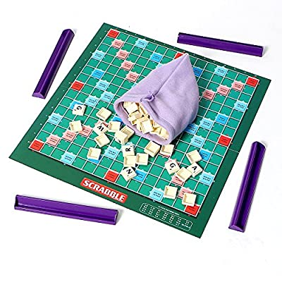 Super Scrabble Classic Crossword Board Game with Free Storage Bag: Toys & Games