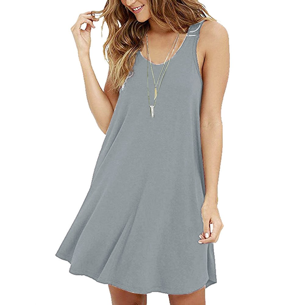 Women's Casual Solid Sleeveless Strapless Mini Dress Summer Loose O-Neck A-Line Shirt Camis Dresses Beach Sundress Grey