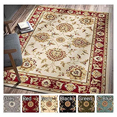 Sultan Sarouk Red Persian Floral Oriental Formal Traditional Area Rug Easy to Clean Stain / Fade Resistant Shed Free Modern Contemporary Transitional Thick Soft Plush Living Dining Room Rug