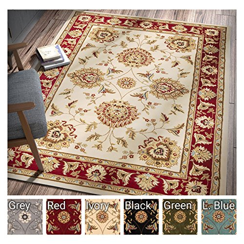 "Sultan Sarouk Ivory Persian Floral Oriental Formal Traditional 8×11 8×10 (7'10"" x 10'6″ Area Rug Easy to Clean Stain / Fade Resistant Shed Free Contemporary Thick Soft Plush Living Dining Room Rug"
