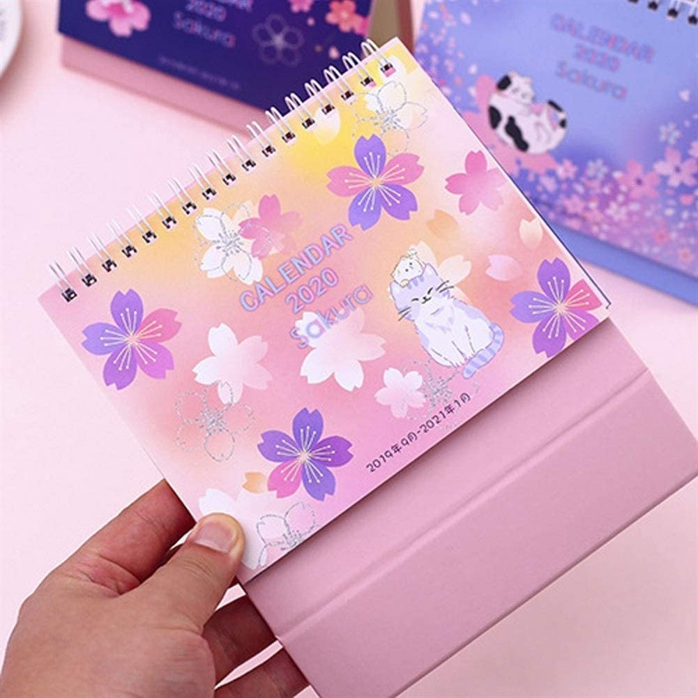 Light and Compact Does not take up Space ZHENQ Desktop Calendar Planner Stand Birthday Gift Stationery Colorful Dream Sky Stand-up Calendar Desk Calendar is Simple Color : B