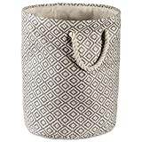 DII Woven Paper Storage Basket/Bin Collapsible & Convenient Home Organization Solution, Large Round, Gray