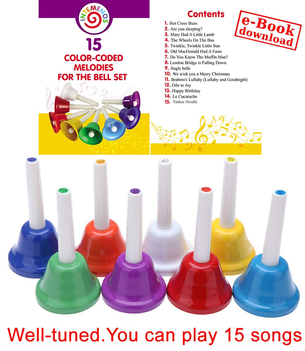 Musical HandBells For Children, Adult, Seniors 8 Note Color-Coded Diatonic Metal Hand Bells Sheet Music Songs included by inTemenos (Image #6)