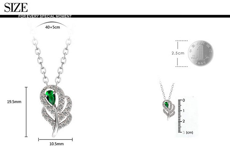 CS-DB Silver Leaf Shape AAA CZ Pure Handmade ProngPendants Necklaces For Womens