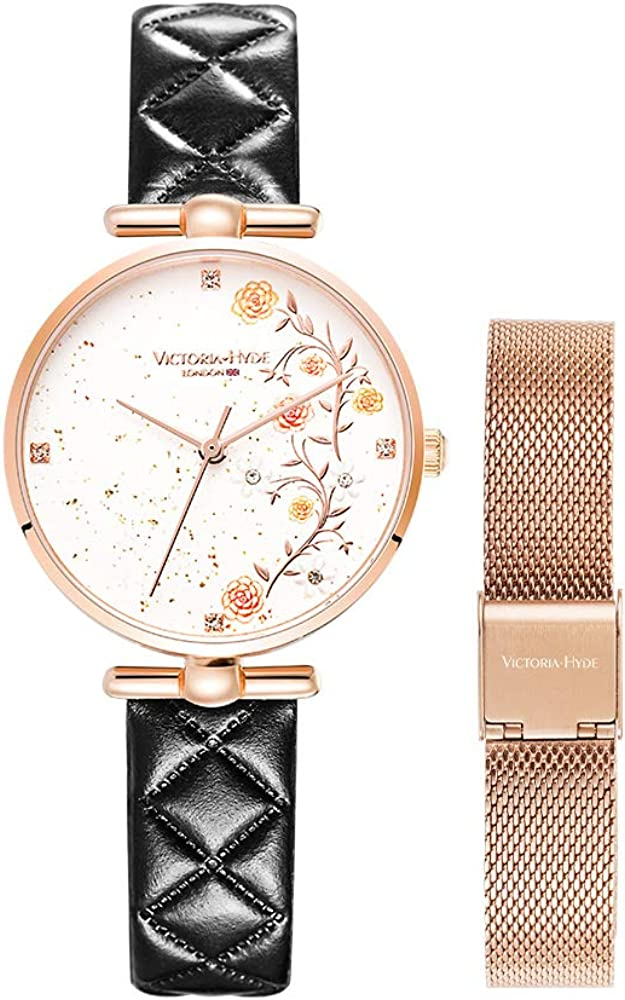 VICTORIA HYDE Elegant Women Watches Analog Quartz Genuine Leather Strap Stainless Steel Mesh Band Ladies Wristwatch