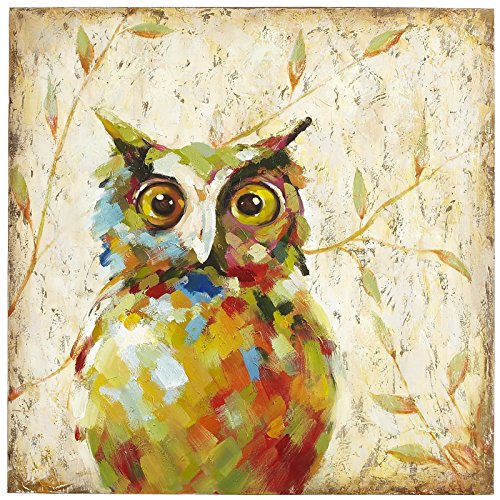UAC WALL ARTS 100% Hand Painted Animal Oil Painting Colorful Owl Canvas Art with Stretched Frame on Canvas Wall Art for Home Decor Ready to Hang 32x32Inch,Quirky Owl Art by UAC WALL ARTS