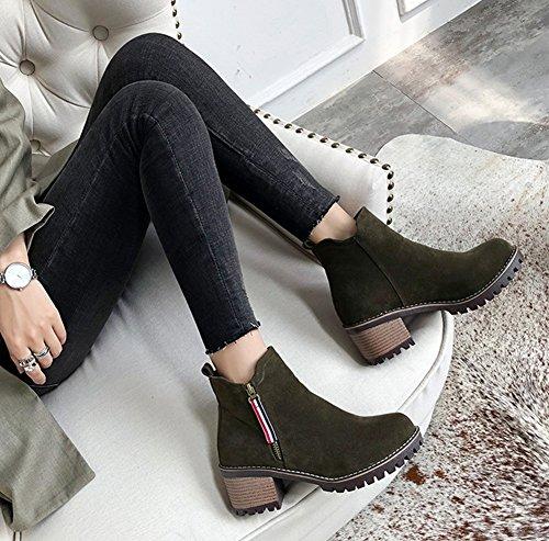 Grün Stiefel Runde Damen Chelsea Blockabsatz Zehen Aisun Boots Profilsohle Kurzschaft vpw4qna