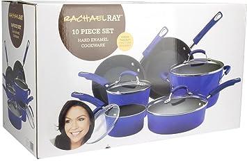 New Rachael Ray 10 esmalte de porcelana Set de cocina antiadherente sartenes ollas - Rachael Ray 10 piezas): Amazon.es: Hogar