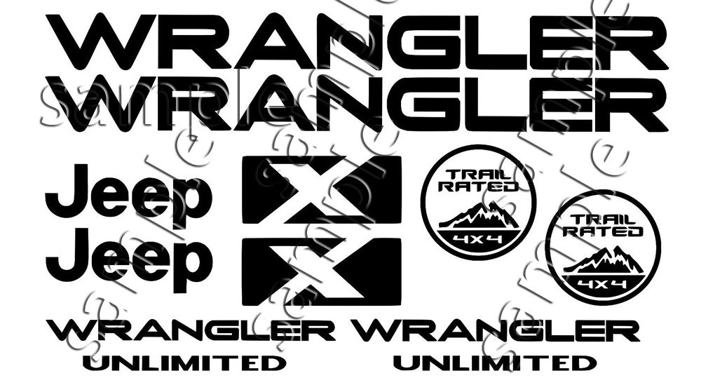 Jeep Wrangler X Unlimited Decal Sticker Set 12 Replacement decals