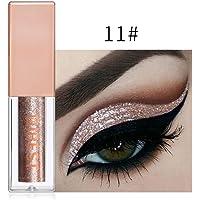 FeiXiang Maquillage Fard à paupières métallisé brillant pour les yeux Eyeliner Liquide Glitter Imperméable 15 Couleur (Or K)