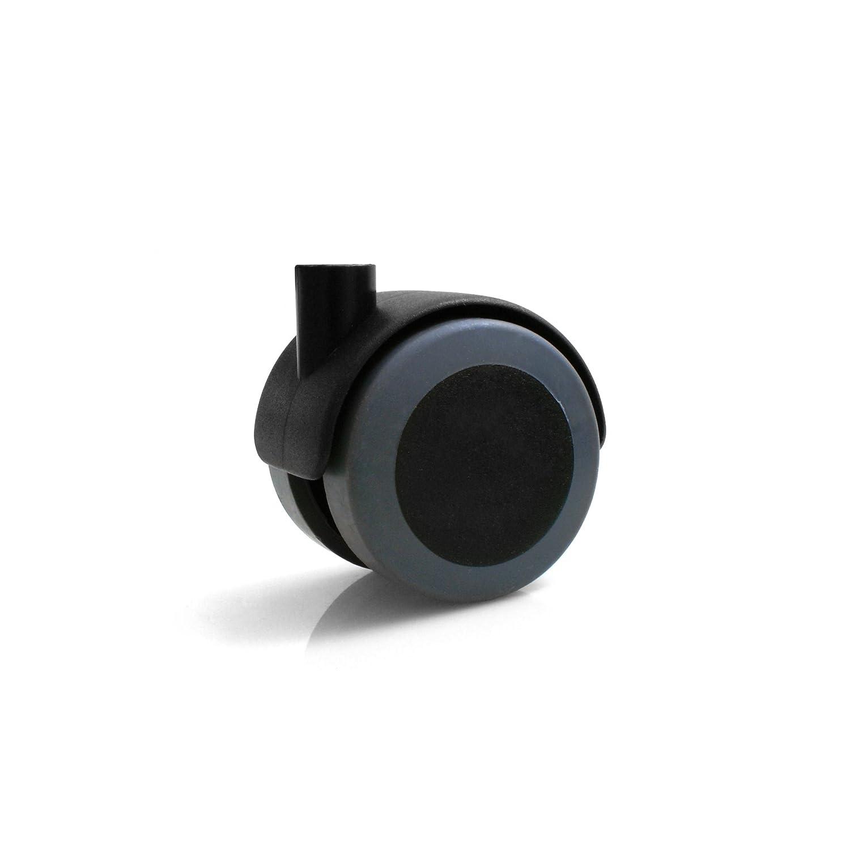 Design61 M/öbelrollen mit U-Aufnahme f/ür 22mm breite Platten Gummirollen Lenkrollen Laufrollen Bodenschutz Rollen mit Feststeller Plattenschuhe mit Stift 4 St/ück