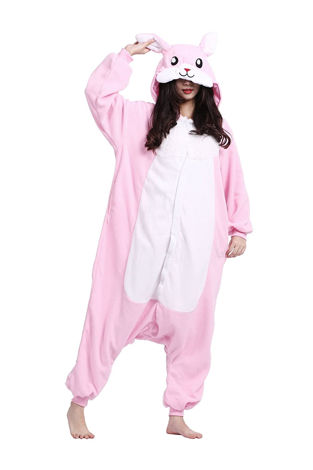 DarkCom Adult One Piece Cartoon Pyjamas Unisex Animal Costumes Fancy Cosplay Dress Jumpsuits Rabbit