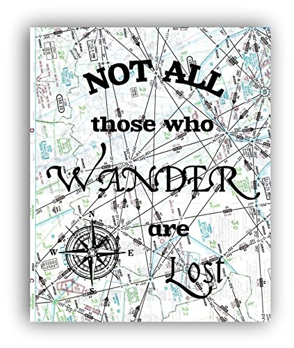 Not All Those Who Wander are Lost Print on Authentic Aviation Map, Travel Quote, Wanderlust Map Art Print, Office Decor, Pilot Gift