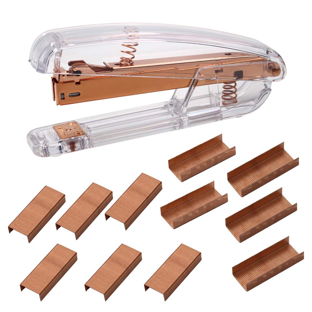 Acrylic Stapler Rose Gold Desktop Stapler with 1000 Pieces Rose Gold Staples for Modern Design Office Desktop Accessory by Allure Maek