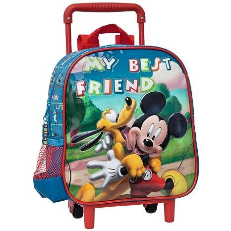 Disney Mochila Infantil Mickey y Pluto Carro Fijo, 25 cm, Azul