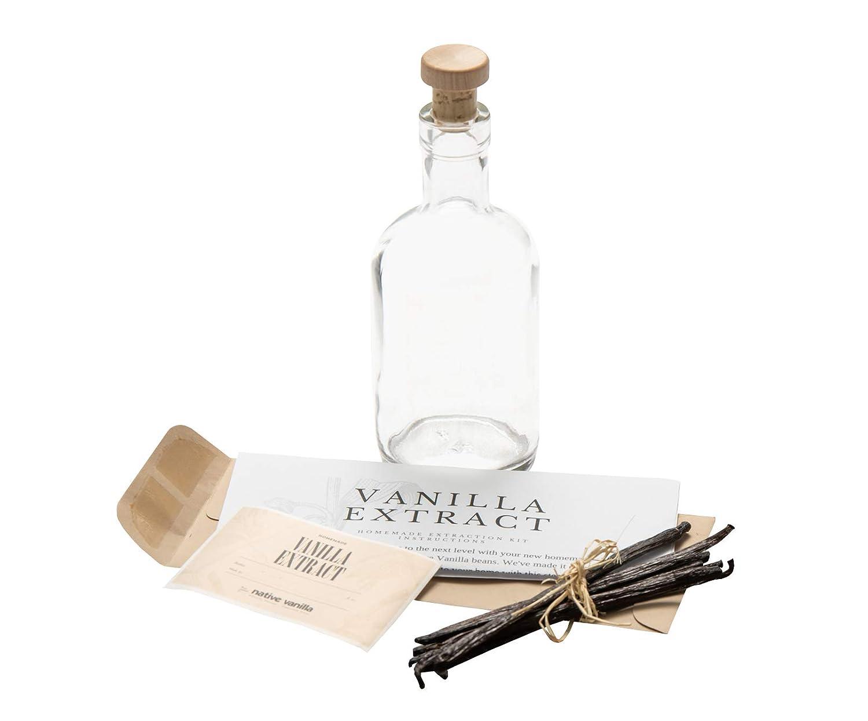 Native Vanilla Home Extract Kit - 10 Extract Grade B Vanilla Beans, 375ml Clear Glass Bottle - Tahitian Vanilla