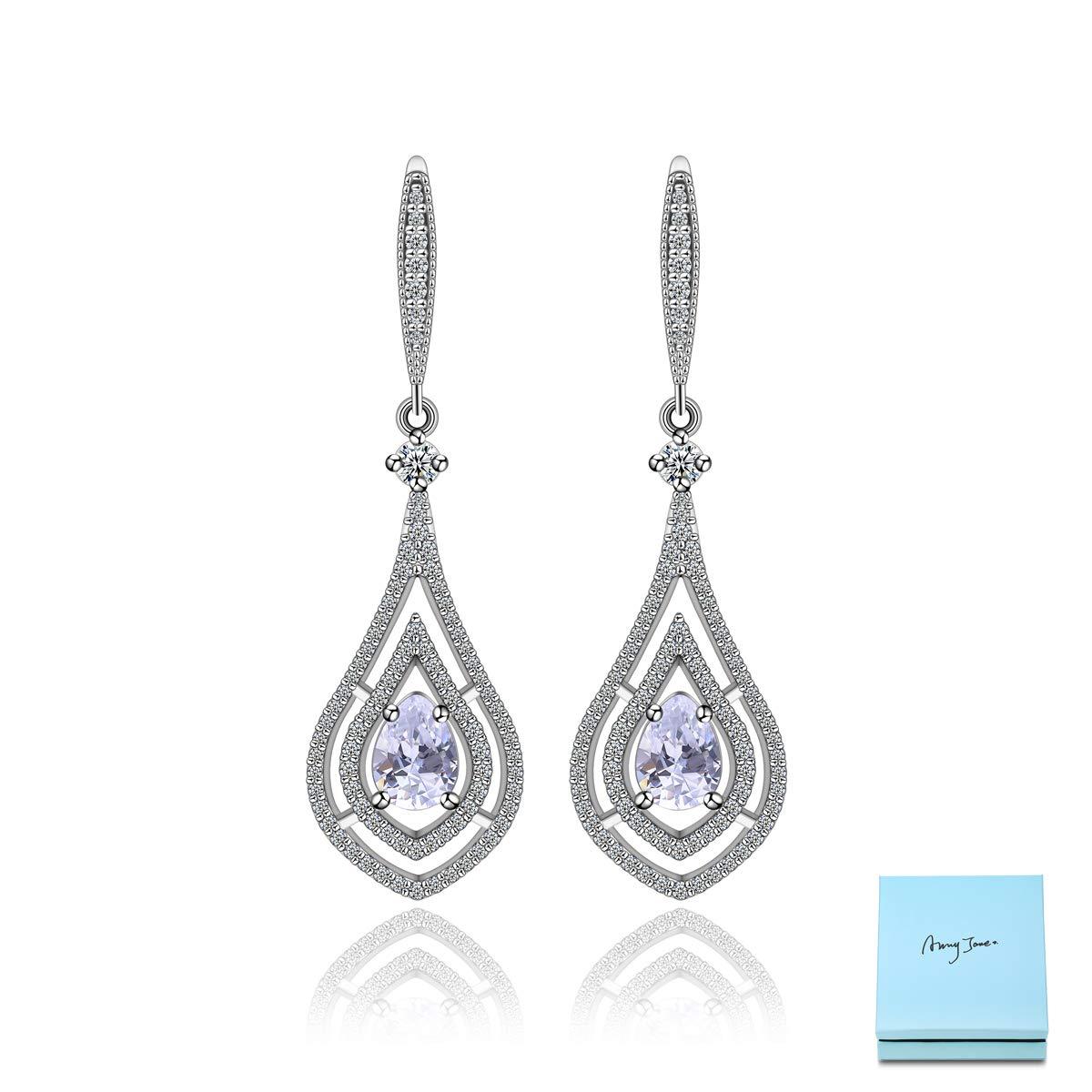 431fe6701 AMYJANE Cubic Zirconia Teardrop Dangle Earrings - Sterling Silver Pear  Shape Crystal CZ Chandelier Rhinestone Wedding Statement Earring for Bride  ...
