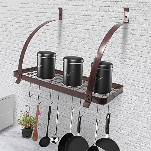 Kitchen Wall Mount Pot Storage Rack Pans Organizer hanger wi
