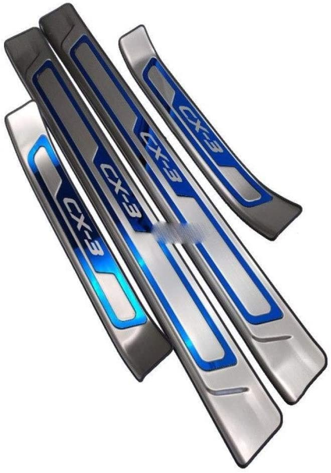 BTSDLXX 4Pcs Auto Stainless Steel External Door Sills for Mazda Cx 3 CX3 CX 3 2014-2019 Welcome Pedal Kick Plates Scuff Threshold Bar Protective Decorate Foot Tread Stickers Strips,Blue