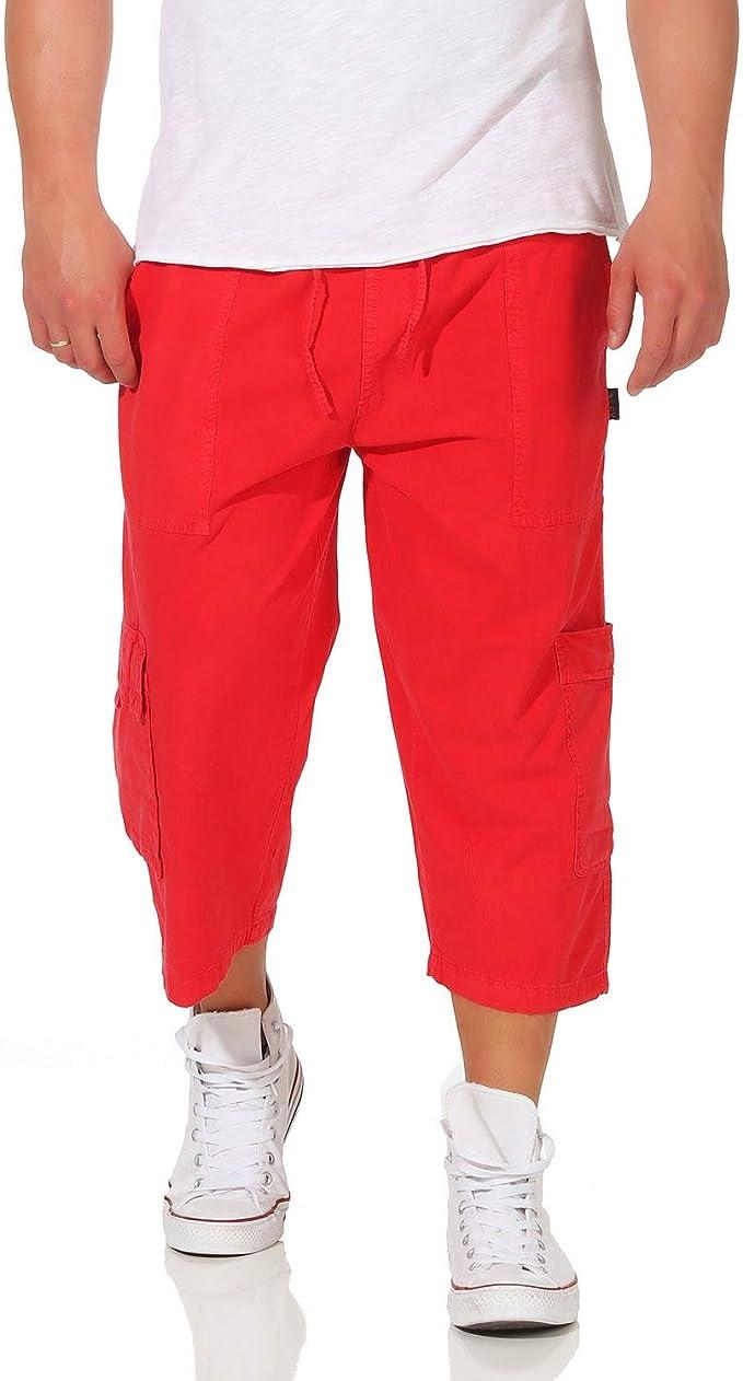 TALLA 2XL (56). ZARMEXX Pantalón de algodón para Hombre Pantalón Corto de Bermudas Pantalón de Verano Ocio Playa Liso Suelta Ajuste