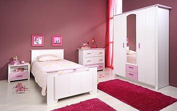 Armoire 3 portes Blanche et Rose pour Chambre Fille CANDY: Amazon.fr ...