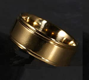 7 Men 's Ring Yellow Gold Plated Stainless Steel with edge In both sides