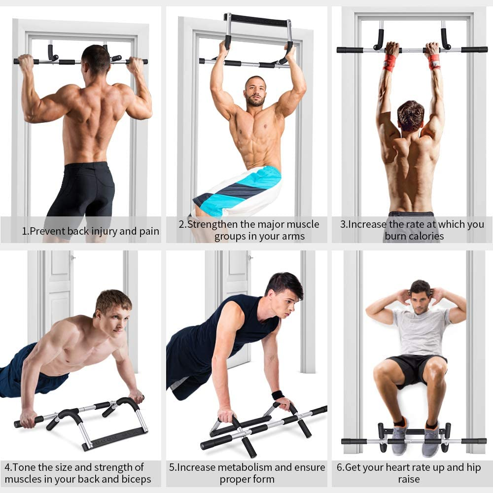 ONETWOFIT Doorway Pull Up Bar Chin Body Strength Exercise Door Mounted Workout Arm Home