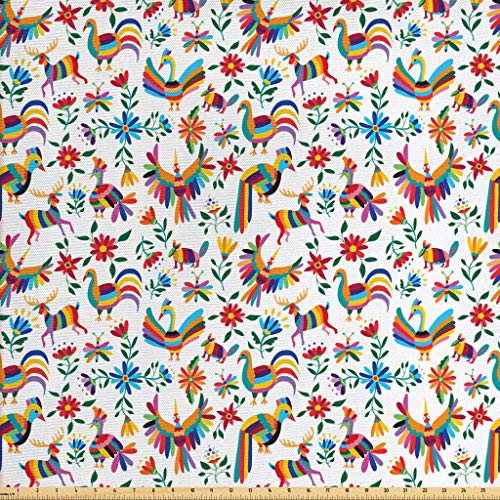 Ambesonne Mexican Fabric by The Yard, Traditional Latin American Art Design with Natural Inspirations Flowers and Birds, Decorative Fabric for Upholstery and Home Accents, 5 Yards, Multicolor