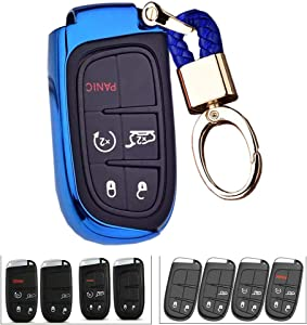 Royalfox(TM 2 3 4 5 Buttons TPU Smart Remote Key Fob case Cover for Chrysler 300 200 Dodge Charger Challenger Dart Durango Journey,Jeep Grand Cherokee Renegade Fiat Freemont (Blue)