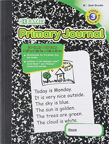 BAZIC Primary Journal Marble Composition Book. 100 Sheet Notebook for Grades K-2 (9 ¾