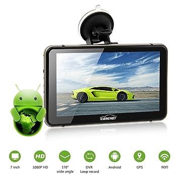 Navegador GPS para Coche-Táctil Pantalla 7 Pulagadas 8G 512MB Android 4.4 Transmisor FM HD 1080P DVR WIFI con Mapa Europa Idioma Español Coche DVR Dashcam ...