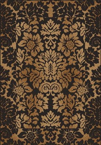 Gold Antique Rectangle Rug (Radici Usa Como Area Rug 1717 Brown/Gold Italian Flowers 9' 10