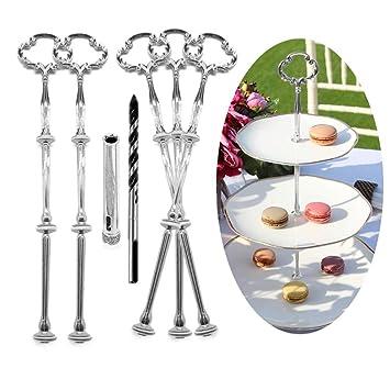 10 Sets Schrauben und Stange Set für Etagere Silberfarbe für Tortenständer Deko