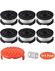 "Thten AF-100 Replacement Spools for Black Decker GH900 GH600 LST522 LCC140 String Trimmer Weed Eater Refills 30ft 0.065"" Auto-Feed Spool,8 Pack (6 Replacement Spool, 1 Trimmer Cap,1 Spring)"