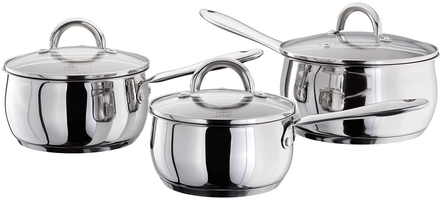 Judge Classic Mirror Polished Stainless Steel 3 Piece Saucepan Set