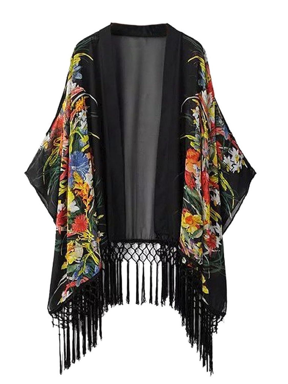 1920s Style Wraps Vintage Floral Print Tassel Loose Kimono Cardigan Coat $20.99 AT vintagedancer.com
