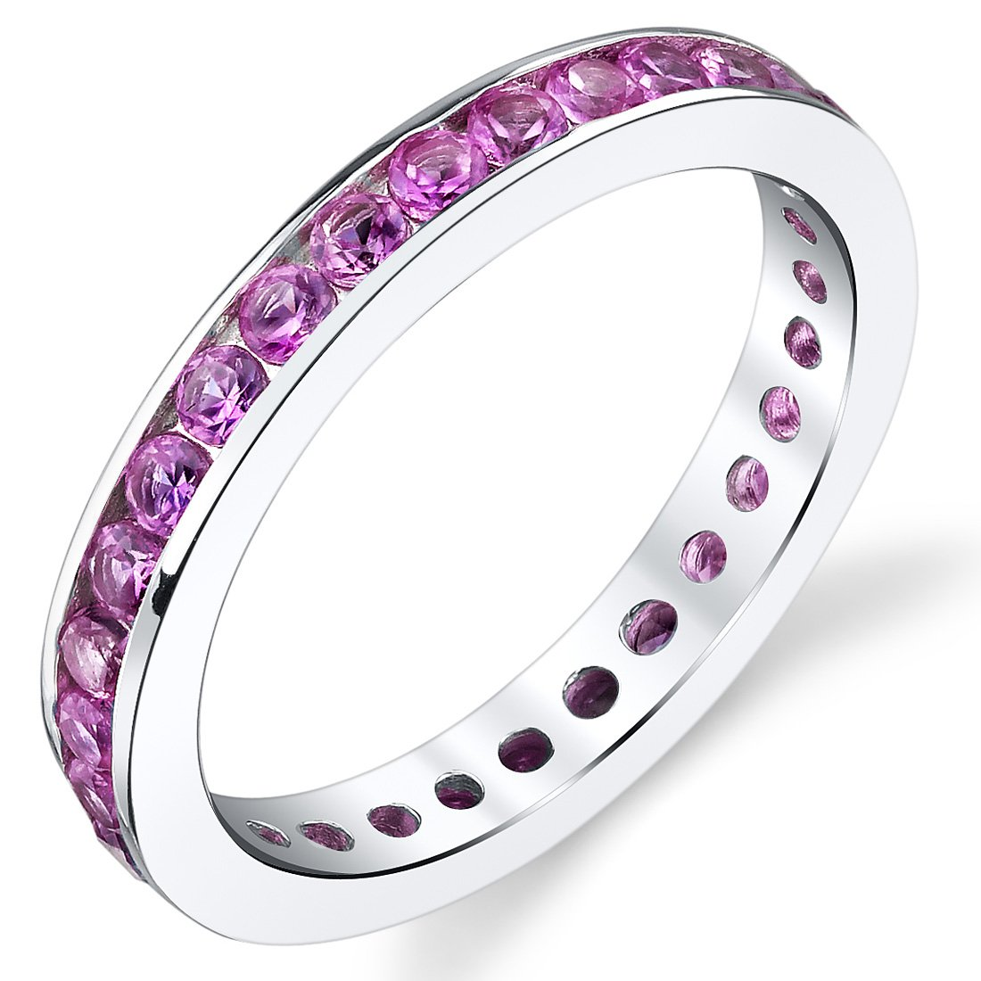 1.50 Carats Created Pink Sapphire Eternity Ring Sterling Silver Sizes 5 to 9 Peora