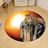 Gzhihine Custom round floor mat Safari Decor Of Africa Continent Map As A Animal Skin Wilderness Species Art Print Bedroom Living Room Dorm Decor Black White