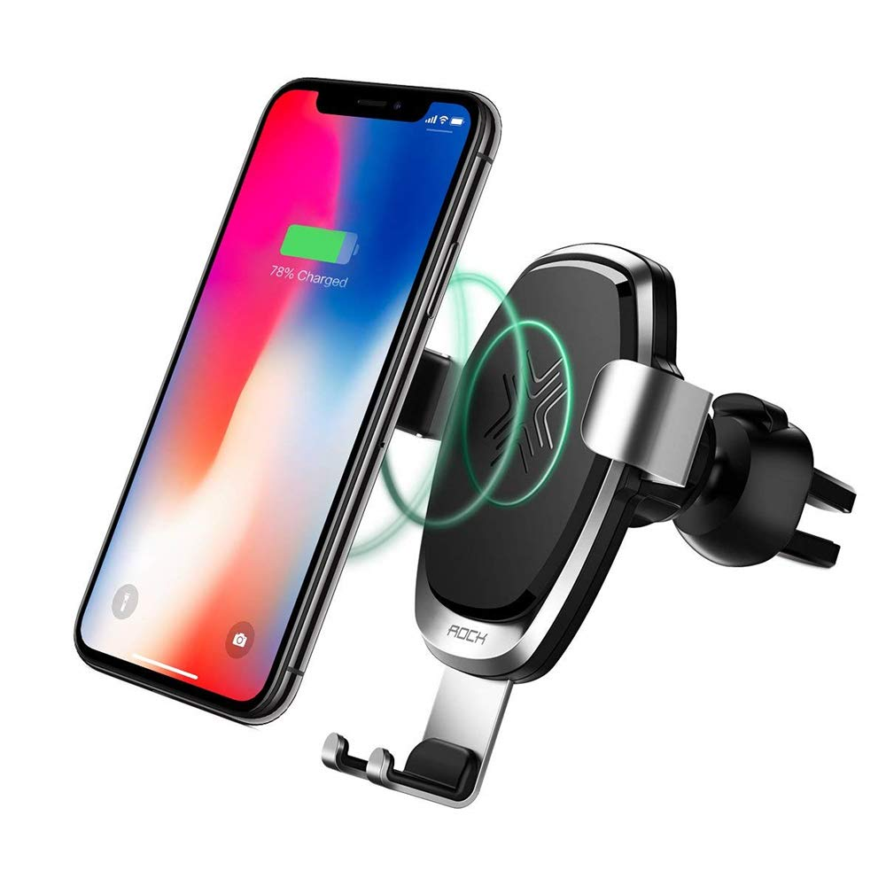 look for b0469 7979d Qi Wireless car charger,Rock 10W fast charge gravity 360°Rotating Air Vent  car mount Phone Cradle Holder for iPhone X,8/8 Plus Samsung Galaxy ...