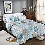 Alicemall European Style Medallion Paisley Print Bed in a Bag Comforter Set 100% Cotton Gray Bedspread/ Quilt Set, 3 Pieces, Queen/King Size (Gray & Blue)