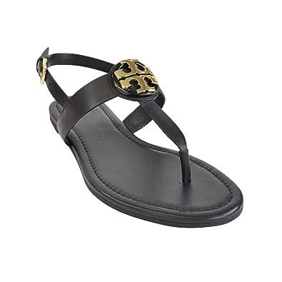 67a8d7a36fa5df Tory Burch Women s 43066 Bryce Vegan Leather Flat Thong Sandals Perfect  Black (US ...